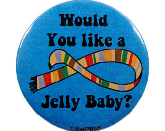 Jelly Baby? Or Weight Loss 4 Gummies? (Review) Dr Who Badge: Would you Like a Jelly Baby? available from Etsy