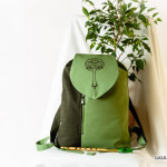 Elvish Linen Daypack / Backpack With Flap - Elvish Pattern Athelas