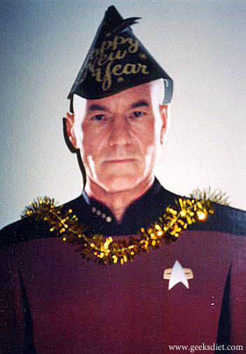 Captain Picard wearing a Happy New Year hat