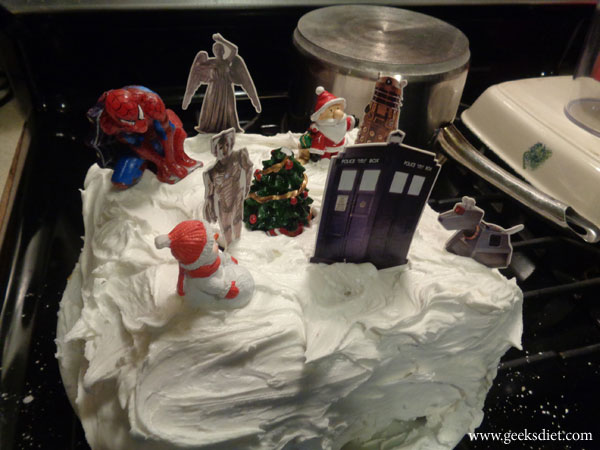 Decorating our Dr Who Christmas cake