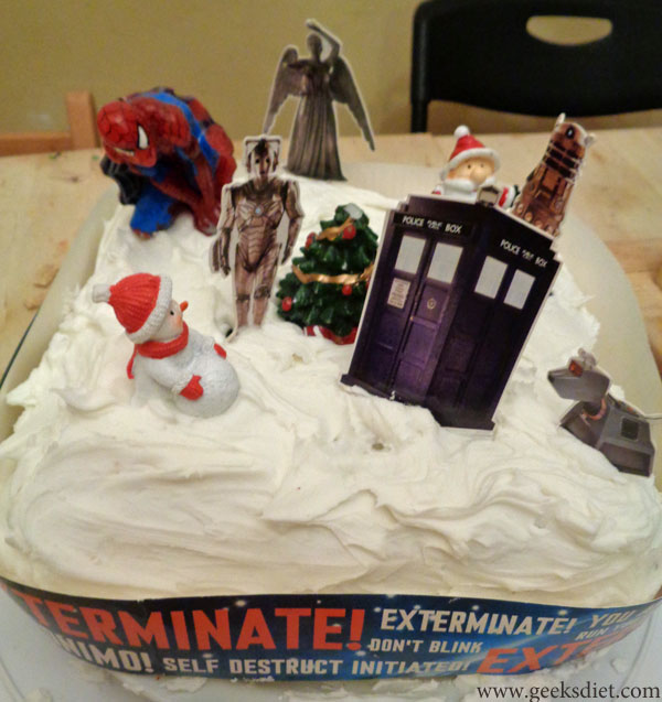 Our Doctor Who Christmas Cake, ready to eat!