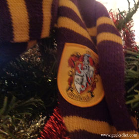 Gryffindor scarf on the Christmas tree