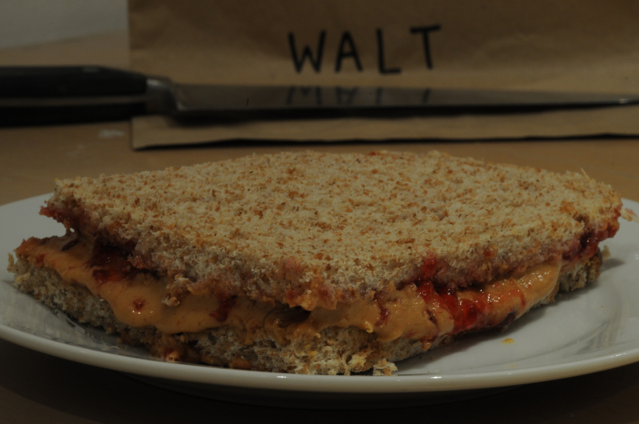 Walter White's Peanut Butter and Jelly sandwich, with the crusts cut off.