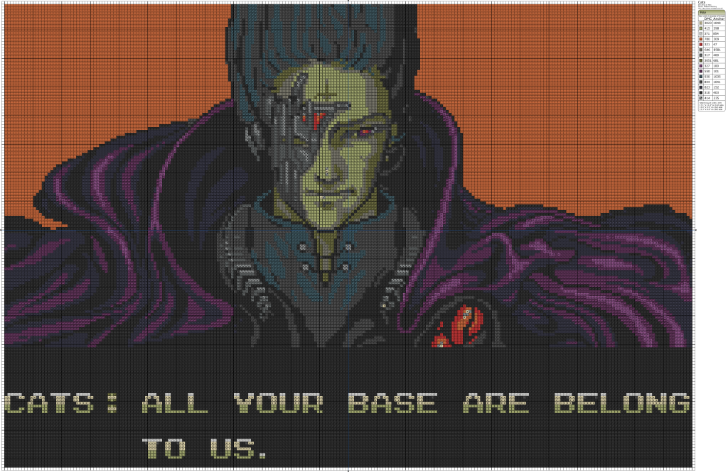 All Your Base Are Belong To Us... in cross stitch!