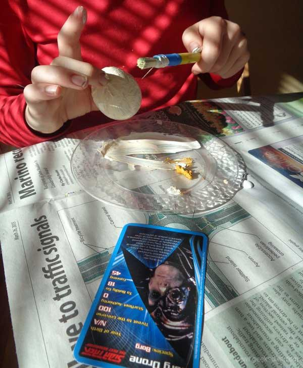 Making a Borg Drone, with the help of Star Trek Top Trumps