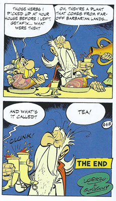 Asterix in Britain: Those herbs for the pretend 'Magic Potion'? Tea :)