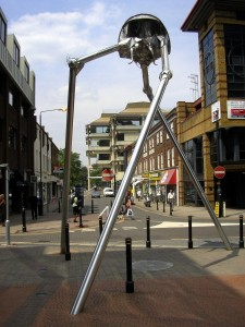 A bottle of Yakult should take this down: Michael Condron's sculpture of a Martian tripod from H. G. Wells' War of the Worlds, in Woking, Surrey. By Warofdreams  (CC-BY-SA-3.0)