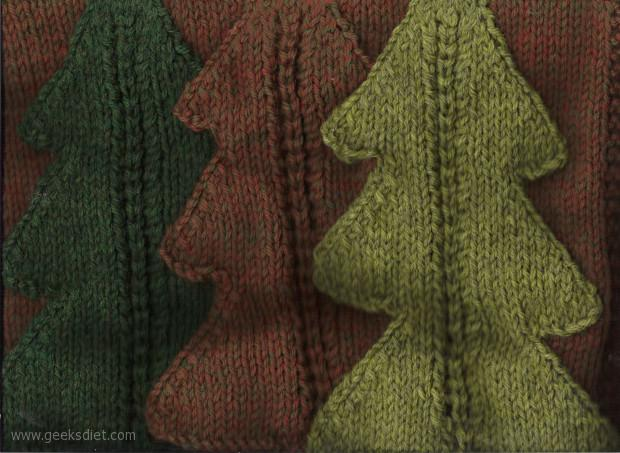 Knitting Trees: One of three squares I've made for the 'American Afghan' blanket I started knitting about 3 years ago